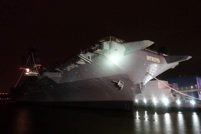 The Intrepid Sea, Air & Space Museum - I don't think I've ever been alongside it at night.