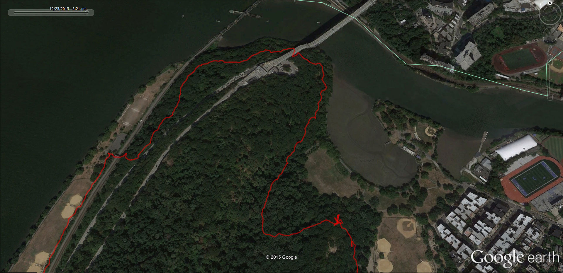 Our route through Inwood Hill Park (pictures below) including a brief pause at the first bend.