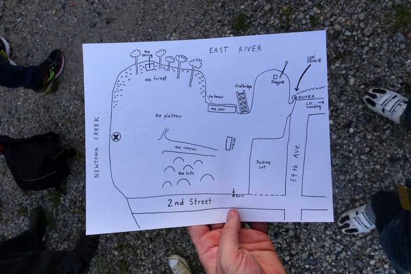 A hand-drawn cartoony map was given to attendees to find their way around the Point - the brush was high, with some grass above 3' or 4', so the map was vital for locating landmarks and getting your orientation.