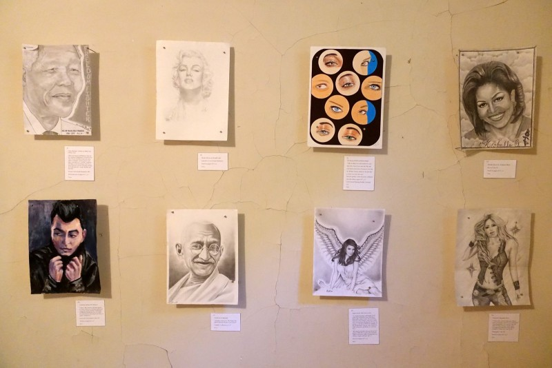 clockwise from top-left: Nelson Mandela: A Tribute by Mark Canterbury; Marilyn Monroe by Ronald Lark; The Beauty Within by Robert Bathe; Michelle Obama by Adolphus Watts; Untitled by Michael M. Strawser; Gandhi by K. Marinelli; Angel Sent by Todd Ayers; Untitled by Reynaldo Perez