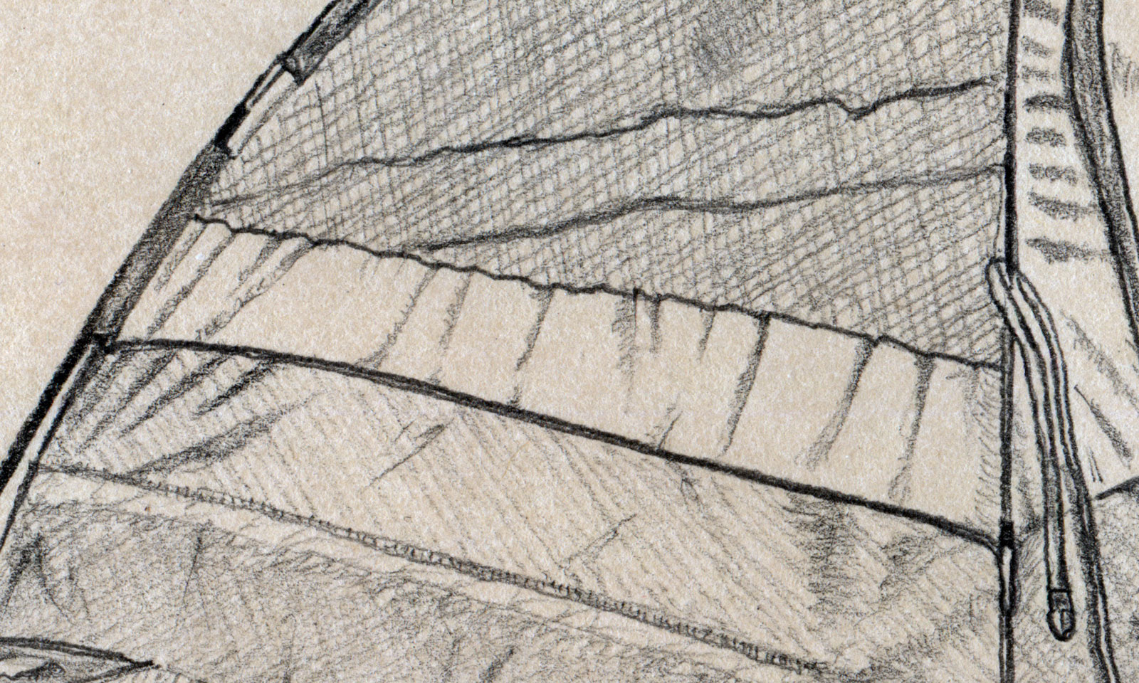 The 'folds' in the top bar are my favorite feature of this drawing - simple yet effective.